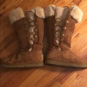 Brown Ugg Boots with Side Tie